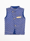 BLUE JAMAWAAR WAIST COAT FOR BOYS - DIAGONAL CUT-10160