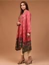 Pink Printed Jacquard Stitched Shirt for Women