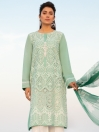 Sea Green Printed Lawn Shiffly Stitched Suite for Women