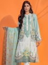 Ice Blue Printed Lawn Unstitched 2 Piece Suit for Women
