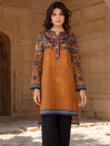 Yellow Printed Lawn Unstitched Shirt for Women