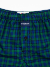 Men's Blue & Green Woven Check Boxers Shorts With Button Fly Pack of 2